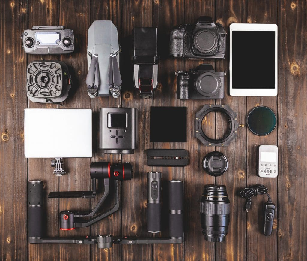 Showing all the variety of gear you might choose from when filming a video